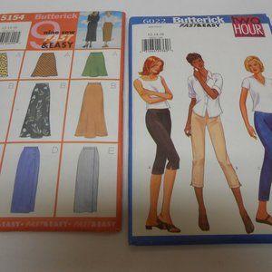 2 Butterick Easy Patterns sz 12/14/16 skirts pants